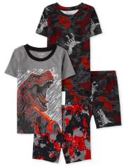 Boys Dino Snug Fit Cotton Pajamas 2-Pack