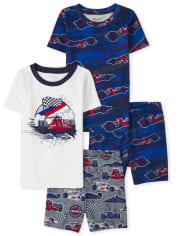 Boy Race Car Snug Fit Cotton Pajamas 2-Pack