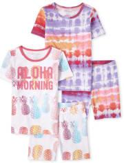 Girls Aloha Tie Dye Snug Fit Cotton Pajamas 2-Pack