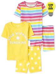 Girls Glow Sunshine Snug Fit Cotton Pajamas 2-Pack