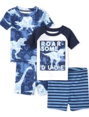 Baby And Toddler Boys Dino Snug Fit Cotton Pajamas 2-Pack
