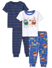 Baby And Toddler Boys Monster Striped Snug Fit Cotton Pajamas 2-Pack