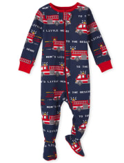 Baby And Toddler Boys Fire Truck Snug Fit Cotton One Piece Pajamas