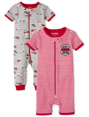 Baby And Toddler Boys First Responders Snug Fit Cotton One Piece Pajamas 2-Pack