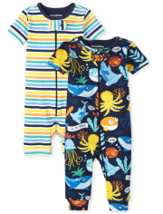 Baby And Toddler Boys Sea Life Striped Snug Fit Cotton One Piece Pajamas 2-Pack