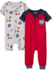 Baby And Toddler Boys Sports Snug Fit Cotton One Piece Pajamas 2-Pack