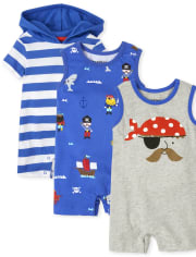 Baby Boys Pirate Romper 3-Pack