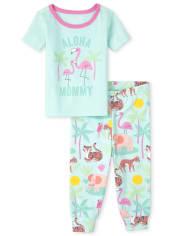Baby And Toddler Girls Aloha Morning Snug Fit Cotton Pajamas