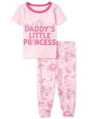 Baby And Toddler Girls Daddy's Princess Snug Fit Cotton Pajamas