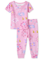 Baby And Toddler Girls Counting Snug Fit Cotton Pajamas