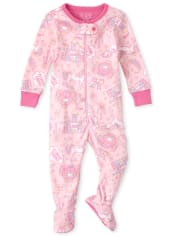 Baby And Toddler Girls Magical Snug Fit Cotton One Piece Pajamas