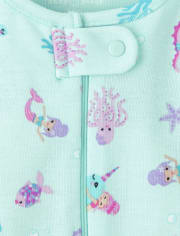 Baby And Toddler Girls Mermaid Snug Fit Cotton One Piece Pajamas 2-Pack