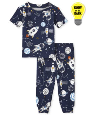 Baby And Toddler Boys Glow Space Snug Fit Cotton Pajamas