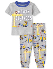 Baby And Toddler Boys Monkey Business Snug Fit Cotton Pajamas