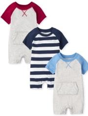 Baby Boys Colorblock Romper 3-Pack