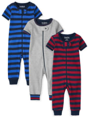 Baby And Toddler Boys Striped Snug Fit Cotton One Piece Pajamas 3-Pack
