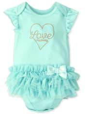 Baby Girls Love Mommy Tutu Bodysuit