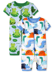 Baby And Toddler Boys Dino Frog Snug Fit Cotton One Piece Pajamas 2-Pack