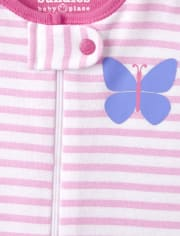 Baby And Toddler Girls Floral Butterfly Snug Fit Cotton One Piece Pajamas 2-Pack