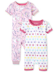 Baby And Toddler Girls Animal Hearts Snug Fit Cotton One Piece Pajamas 2-Pack