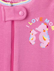 Baby And Toddler Girls Sea Life Snug Fit Cotton One Piece Pajamas 2-Pack