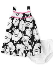 Baby Girls Floral Ruffle Dress