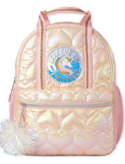Girls Quilted Heart Unicorn Backpack