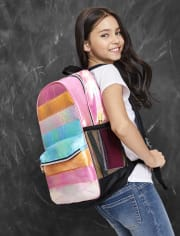Girls Quilted Striped Backpack