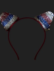 Girls Americana Flip Sequin Cat Ears Headband