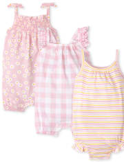 Baby Girls Floral Gingham Romper 3-Pack