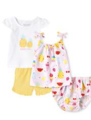 Baby Girls Pineapple 4-Piece Playwear Set