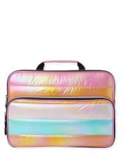 Girls Quilted Striped Laptop Case