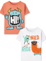 Toddler Boys Monster Graphic Tee 2-Pack