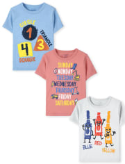 Toddler Boys Education Graphic Tee 3-Pack