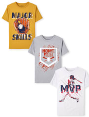 Boys Baseball Graphic Tee 3-Pack