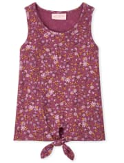 Girls Floral Ribbed Tie Front Tank Top