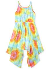Girls Rainbow Tie Dye Sharkbite Hem Dress