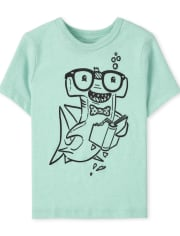 Baby And Toddler Boys Reading Shark Graphic Tee