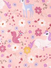 Toddler Girls Print Snow Overalls