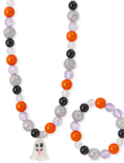 Girls Halloween Ghost Beaded Necklace And Bracelet Set