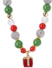 Girls Christmas Beaded Necklace And Bracelet Set