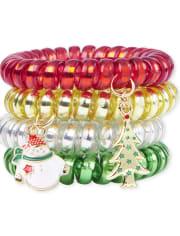 Girls Christmas Coil Bracelet 4-Pack
