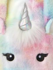 Girls Unicorn Faux Fur Tote Bag