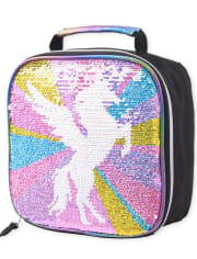 Girls Metallic Flip Sequin Unicorn Lunch Box