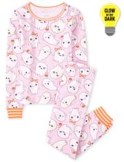 Girls Halloween Glow Ghosts Snug Fit Cotton Pajamas