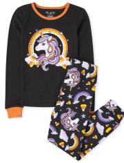 Girls Halloween Unicorn Snug Fit Cotton Pajamas