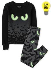 Unisex Kids Glow Bats Snug Fit Cotton Pajamas