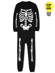 Unisex Adult Matching Family Glow Skeleton Fleece One Piece Pajamas