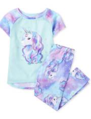Girls Tie Dye Unicorn Pajamas