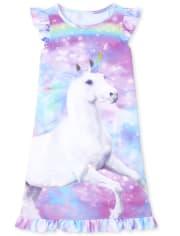 Girls Unicorn Ruffle Nightgown